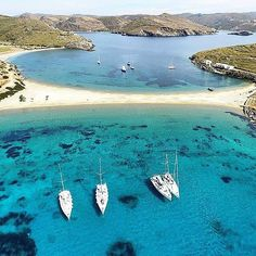 The stunning Kolona beach from above , at Kythnos island (Κύθνος)🇬🇷. Nice capture by . **Tag your Friends or Send it Direct as a message wherever you want ➡️** ~Double Tap it~ Greece Vacation, Greece Travel, Vacation Trips, Paros, Cyclades Islands, Sailing Greece, Mykonos, Places To Travel, Places To Visit