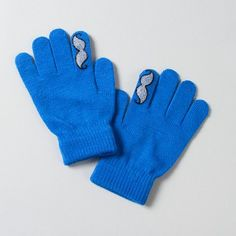 Fun mustache-fingers on these quirky Stretch Gloves