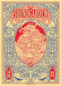 Soundgarden, 2 color concert poster - by Drew Millward Art And Illustration, Musik Illustration, Illustrations Posters, Creative Illustration, Rock Posters, Band Posters, Concert Posters, Gig Poster, Phish Posters
