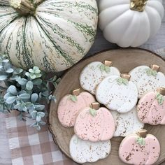 """""""I'm so glad I live in a world where there are Octobers"""".and pumpkins with touches of gold. Fall Decorated Cookies, Fall Cookies, Iced Cookies, Pumpkin Cookies, Cute Cookies, Holiday Cookies, Cupcake Cookies, Cupcakes, Amish Sugar Cookies"""