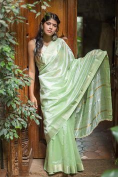 Mint green green Mangalagiri silk cotton saree with gold and silver check border #managalagiri #india #handloom #silk #houseofblouse