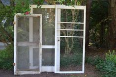 Old screen doors. #rusticweddings #weddingdecor #weddinginspirations #whitebootsbridal