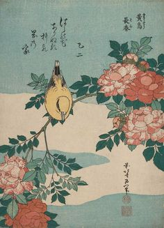 1834 Warbler and Roses from an untitled series known as Small Flowers colour woodblock print 25.6 x 18.5 cm.jpg