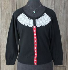 Anthropologie Guinevere XL size Cardigan Sweater Black Snap Beaded Lace Top