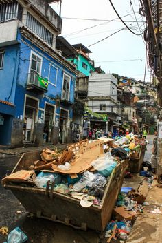 The not so glamorous side of Rio. Rubbish on the streets of Rocinha favela