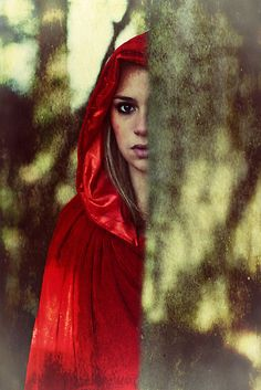 Fantasy Women in Red | Sharonroseart › Portfolio › Red cloak teenage girl in the woods