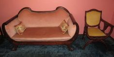 Beautifully inlaid antique furniture including settee and chair. Settee, Antique Furniture, Accent Chairs, Auction, Antiques, Cooking, Kitchen, Home Decor, Upholstered Chairs