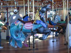 Sea Horse! On my carousel, I want only horses (maybe a dozen?), realistically reproduced, life-sized, with horse hair manes and tails. Oh, and using REAL saddles and leather reins! The only ride besides a horse would be Cinderella's pumpkin carriage.  Dream on.....