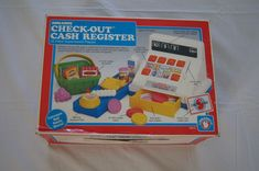 Vintage 1980's - New in Box Shelcore Checkout cash register - 20 pieces - Supermarket playset by TheMercerStreetHouse on Etsy