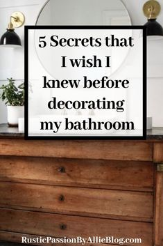 5 Secrets that I wish I knew before decorating my bathroom. These tips have saved me tons of money on my bathroom remode Farmhouse Kitchen Island, Modern Farmhouse Bathroom, Rustic Farmhouse, Farmhouse Lighting, Kitchen Islands, Fixer Upper, Bathroom Styling, Bathroom Ideas, Bathroom Designs