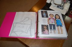 """Storing doll clothes patterns. She does AG, but it would probably work with 11.5"""" and the 15/16"""" fashion doll stuff."""