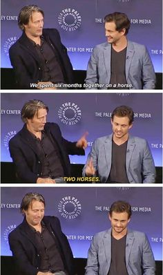 Two different horses. Thanks for clarifying Hugh! Hannibal goes to Paleyfest.