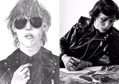 Fletcher Shears and Wyatt Shears photographed by Hedi Slimane for Saint Laurent Men's Fall/Winter 2013 campaign. Artwork by Matt Connors (paintings) and Rachel Howe (pencil drawing).