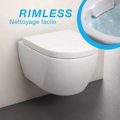 WC suspendu Rimless, Orba Compact Blanc 48 cm + Abattant