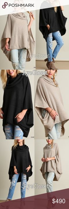 Poncho sweater cardigan cowl neck oversized sexy Trendy Oversized loose fit stunning poncho cape cowl neck sweater cardigan.  Sexy Coverup. Pairs with jeans , basic leggings and sexy leathers leggings. Fabric content : cotton 60% and 40%spandex. Lightweight comfy fabric. New with tags.retail item. ‼️️Two colors to choose from dark charcoal or oatmeal. Please comment with color option before purchasing  ‼️Price is firm unless bundled Boutique Sweaters Shrugs & Ponchos