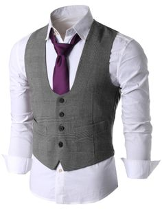 Doublju Men's U-neck Button Front Suit Vest (KMOV036) #doublju