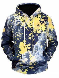 Prezzi e Sconti: #Kangaroo pocket paint splatter cloud print  ad Euro 16.53 in #Men #Moda