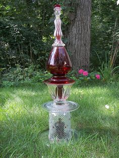 Tall Red and Clear Glass Garden Totem