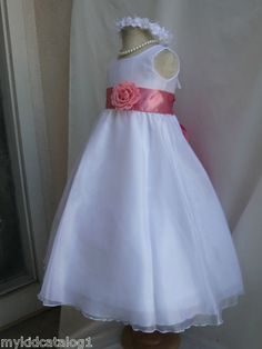 $22 ships from US KC1 New White Petunia Christmas Wedding Organza Kids Flower Girl Dress | eBay
