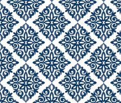 Modern Damask in Navy fabric by sugarfresh on Spoonflower - custom fabric