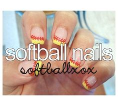 Softball nails<3 I will do this in honor of my girls come season time... but gotta sit this season out due to back problems :(