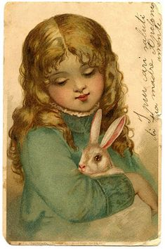 Vintage Stock Easter Image Girl Bunny Graphics Fairy