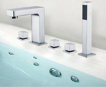 Hohe qualität luxus messing verchromt verbreiteten badezimmer badewanne wasserhahn fünf stück badewanne wasserhahn(China (Mainland))