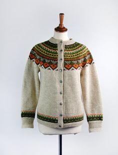 Vintage Intarsia Knit Sweater || Fair Isle Cardigan