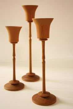 Three Turned Wooden Candle Holders by TriBecasVintage on Etsy, $19.95