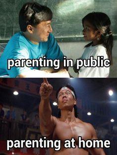 Parenting in Public vs. Parenting at Home