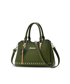 Women Top Handle Handbags Shoulder Bag Crossbody Bag Girls tassel Tote  Purse PU Leather - Green fdda8705150e6