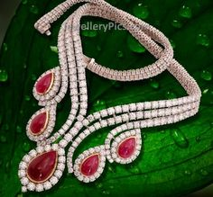 Trendy diamond necklace with rubies neatly aligned - Latest Jewellery Designs