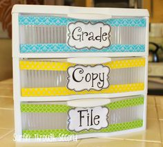 Love how you can still see what's inside, but this adds a pop of color! Perfect for me OR for parent volunteers!