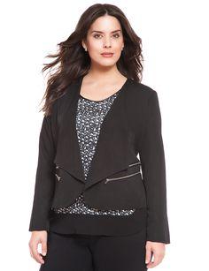 Loving the zipper detail | Crepe Zipper Jacket | Women's Plus Size Jackets | ELOQUII.com