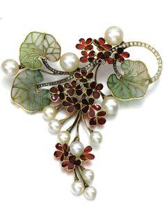ART NOUVEAU | Gem-set and diamond brooch/pendant- Designed as a cascade of flowers, set with plique-à-jour enamel, accented with cultured pearls, single-cut and rose diamonds.