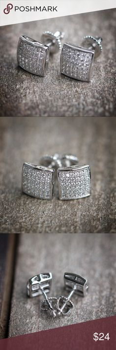 Men's small silver stud earrings MENS WHITE GOLD FINISH .925 STERLING SILVER KITE SQUARE STUD EARRINGS Lab Simulated Diamonds 14K White Gold Finish Over .925 Sterling Silver Width: 8 MM Weight: 1.8 grams Screw on backs Hot Kite Shaped Square Flat Earrings Ts Verniel Accessories Jewelry