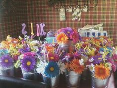 All of my wedding centerpieces in buckets they were bright and sophisticated