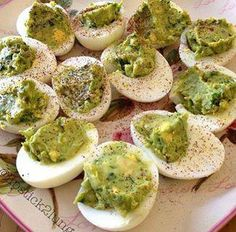 Avocado deviled eggs Mix 1 large avocado with 3 egg yolks, add 1 tsp. cilantro and 3 tsp lime juice, 1 tbsp red onion. Pinch of salt and pepper. top with a dash of chili or paprika.
