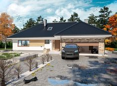 Wizualizacja ARP PADME 2 CE Village House Design, Village Houses, Modern House Plans, House Floor Plans, Modern Farmhouse Exterior, Dream House Exterior, Bungalow, Building A House, Mansions