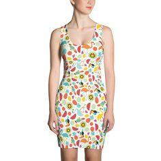 Flamingo fruit party sublimation cut & sew dress - $3303.00 USD