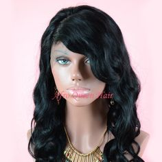 30%off Glueless Full Lace Wig with bangs Promise: 100% human hair  http://www.aliexpress.com/item/In-Stock-Gueless-Full-Lace-Malika-Haqq-Wave-Wig-Brazilian-Hair-1-Jet-Black-Small-Medium/1602451089.html