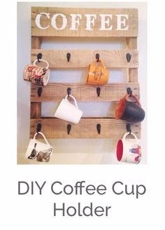 DIY Pallet Furniture Ideas - DIY Pallet Coffee Cup Holder - Best Do It Yourself Projects Made With Wooden Pallets - Indoor and Outdoor, Bedroom, Living Room, Patio. Coffee Table, Couch, Dining Tables, Shelves, Racks and Benches http://diyjoy.com/diy-pallet-furniture-projects