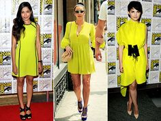 How to wear neon yellow dress Neon Yellow Dresses, Celebrity News, Celebrity Style, High Fashion Looks, Dress For Success, Neon Green, Fashion Watches, Me Too Shoes, Ideias Fashion