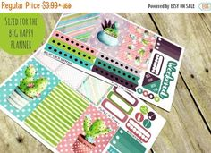 40% OFF BIG Happy Planner Planner Stickers - Functional stickers - Cacti Suprise by PrettyCutePlanner #PCPchic #cacti #planneraddict #planner