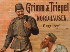 """Seltenes Werbeplakat """"Nordhäuser Kautabak"""", Deutschland um 1900"""