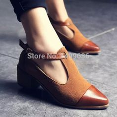Fashion Spring & Summer Women's Shoes Mary Janes Pointed Toe Flats Shallow Mouth  Shoes Thick Heel