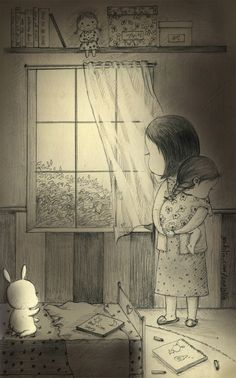 "After boiling fever has gone, still taking care of me to fall asleep. my mom""s night. Pencil Art Drawings, Art Drawings Sketches, Disney Drawings, Cute Illustration, Graphic Design Illustration, Sweet Drawings, Dibujos Cute, Bunny Art, Korean Art"
