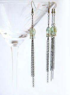Gone Fishing  Long Chain Earrings Blue Green Glass by KapKaDesign, $39.00