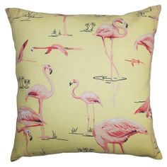 Flamingo Pillow in Yellow
