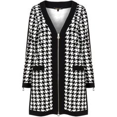 Twister Black / White Plus Size Houndstooth jersey jacket ($155) ❤ liked on Polyvore featuring black, plus size, v neck jersey, white jersey, plus size jerseys and v-neck jersey